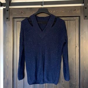 Blue Do+Be Sweater with Multicolor Speckles Sz S